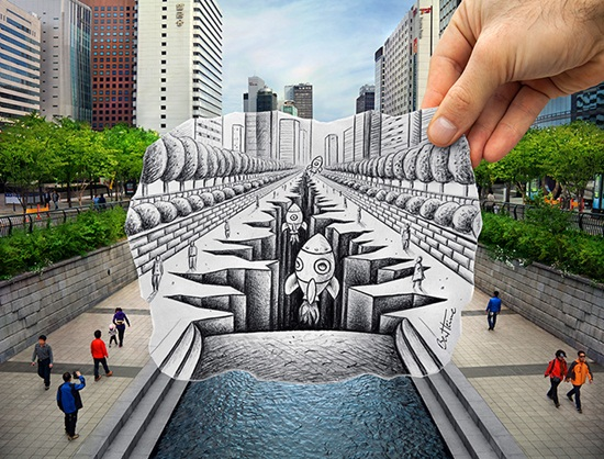 Pencil Vs Camera by Ben Heine in Seoul, South Korea