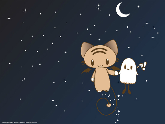 Momocheet and Bu Wallpaper by lafhaha 25+ Cute but not so Scary halloween Wallpapers