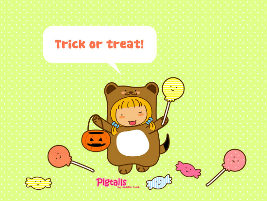 pigtails trick or treat  by jazgirl d306wf6 25+ Cute but not so Scary halloween Wallpapers