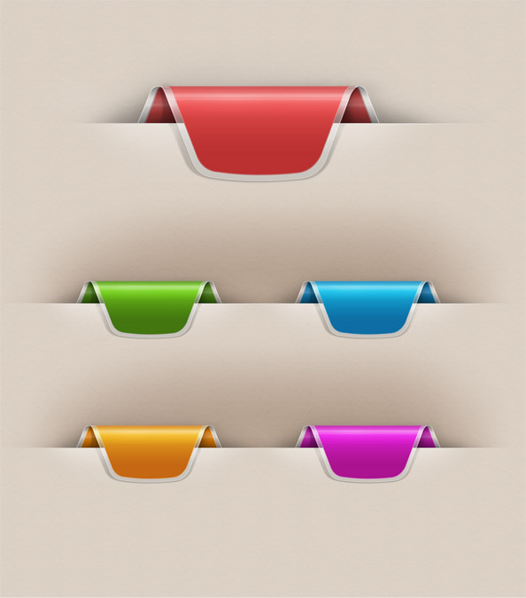 colorful web ribbons set for free