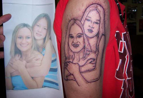 Sister Tattoo Fail designs of loved ones