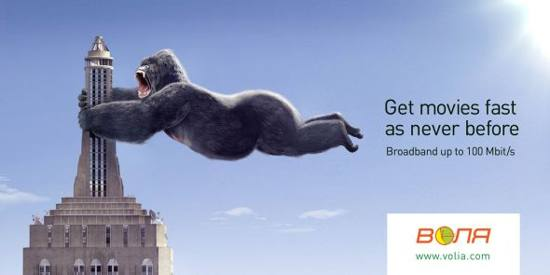 volia broadband! king kong print media advertisement