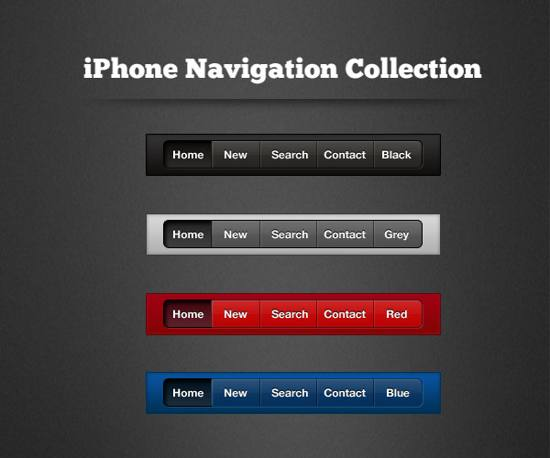 iPhone Navigation Collection Psd template for free download