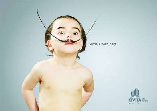 civita art school! print media advertisement: baby dali