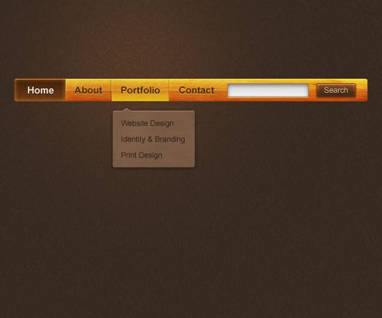free PSD Wooden Navigation Bar for free download