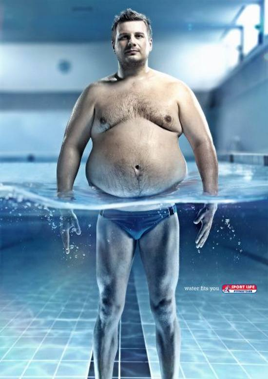 Sportlife! Water fits you, Guy: print media advertisement