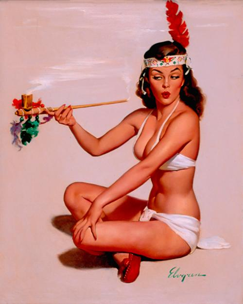 Lip Biting Naughty Vintage Pin-Up Illustrations