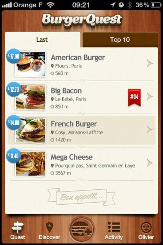 BurgerQuest! ios app design for designers