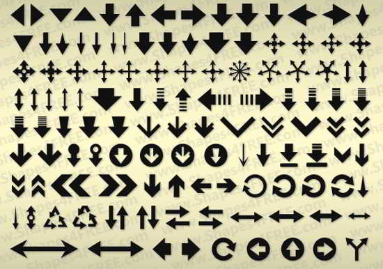 free Arrows Photoshop Shapes