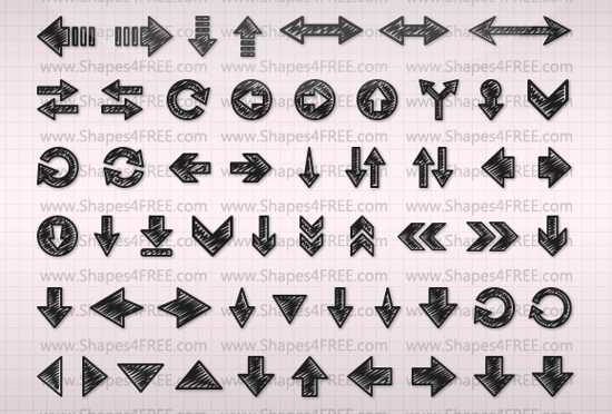 hand Drawn Arrows Photoshop Shapes