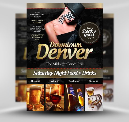 Free bar psd flyer template