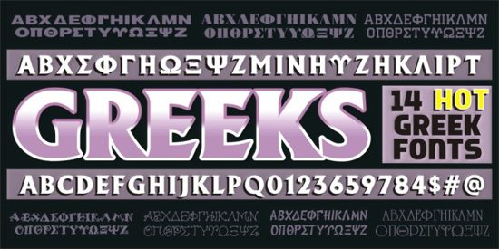 greeks alphabetic fonts