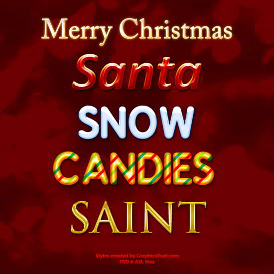 photoshop christmas text styles