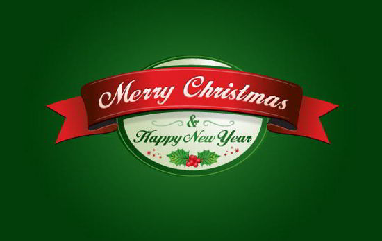 free Christmas Vector and New Year Label