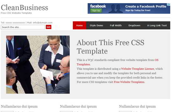 CleanBusiness Free Website Template