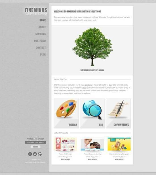free Marketing Solutions Website Template