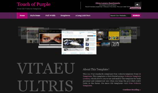 Touch of Purple Website Template