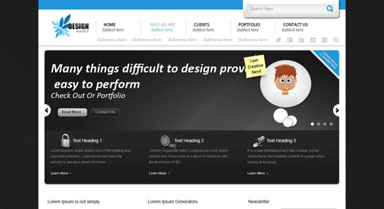 design agency psd web template
