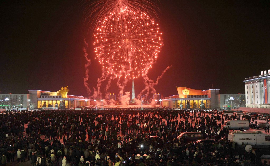 North Korea New Year fireworks 2013