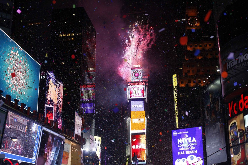 Times Square new year fireworks 2013