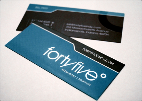 Forty Five Restaurant Business Card Design