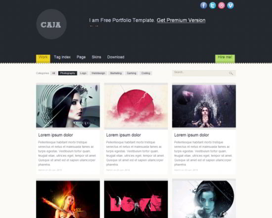 Caja Free HTML5 Website Template
