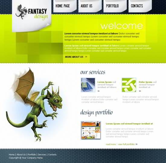 Fantasy Design Free PSD Web Layout