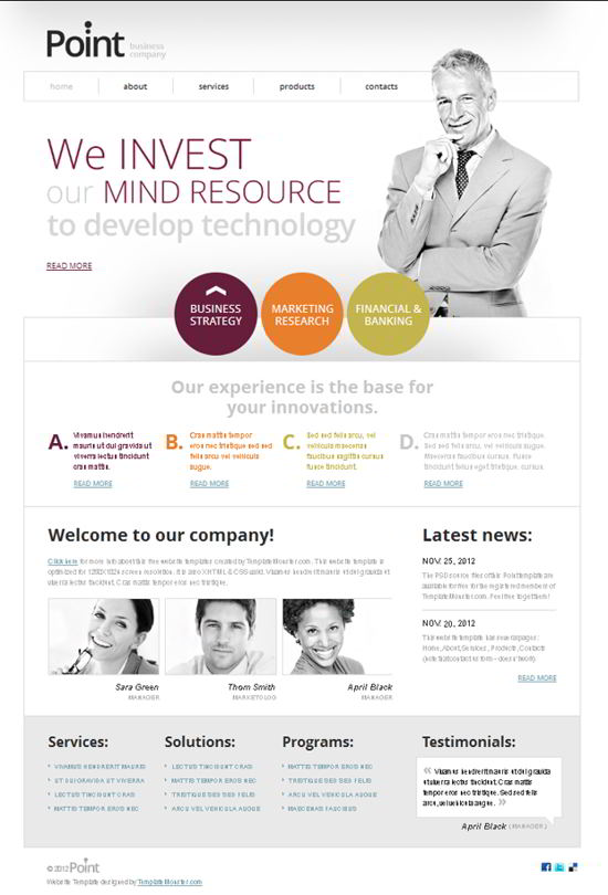 Free Point Website Template for Business Company