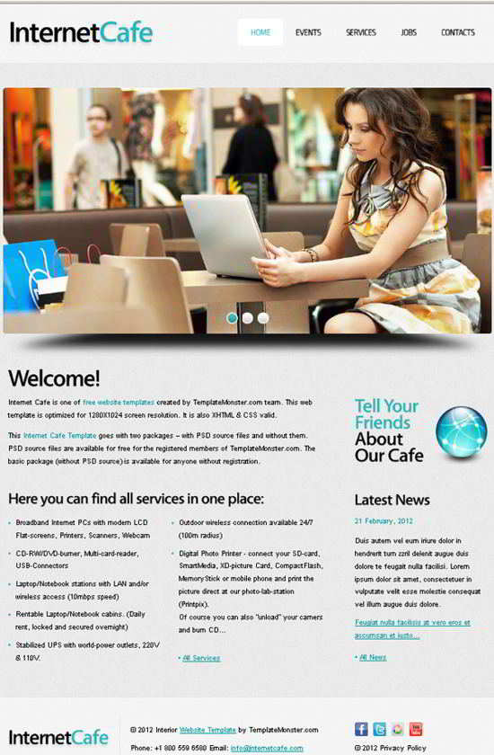 Free Website Template for Internet Cafe