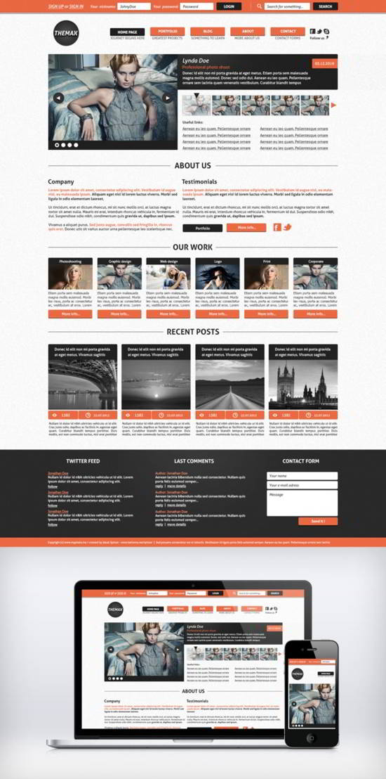 Themax freebie psd template