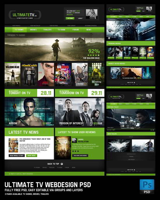 Ultimate TV webdesign PSD