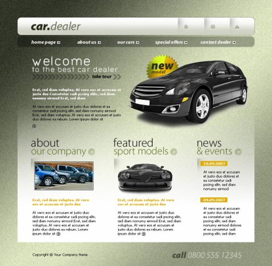 cars layout psd html FREE