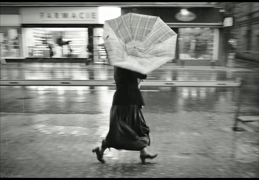 windy rain street photography