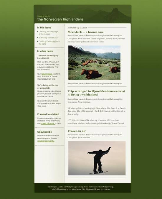 nature newsletter templates