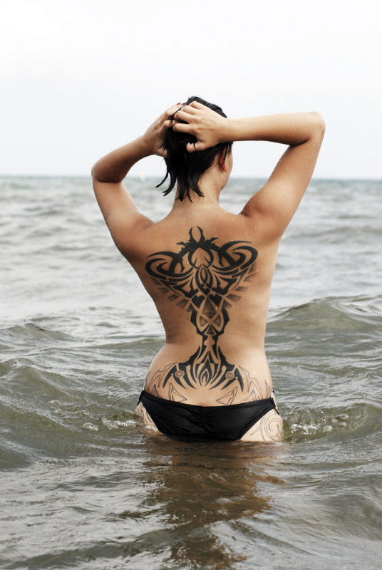 Across The Lake Full Back Tattoo Designs