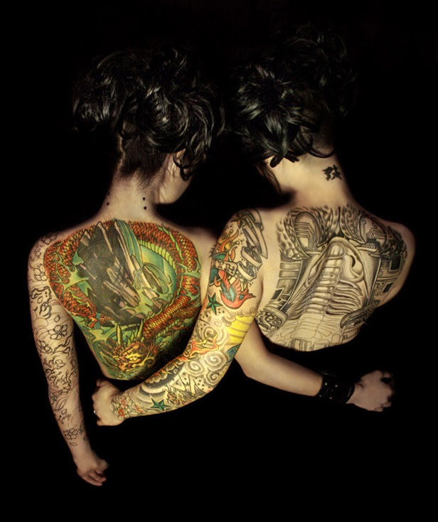 Siamese Twins Full Back Tattoo Designs