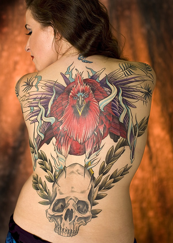 phoenix backpiece Full Back Tattoo Designs