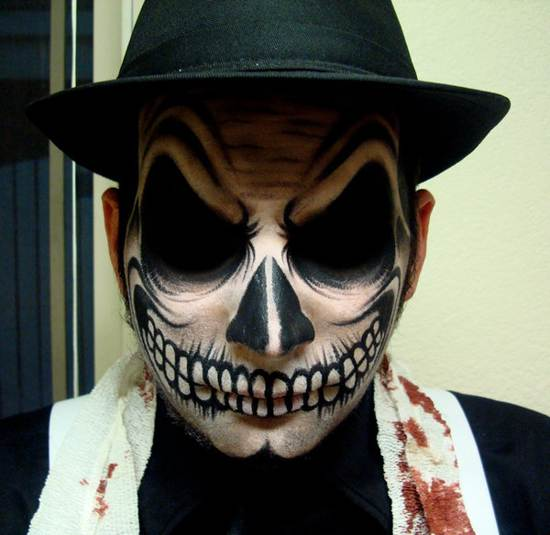 scary skully face painting
