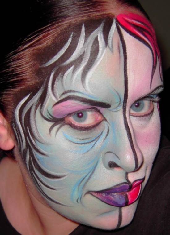 two face evil face painting
