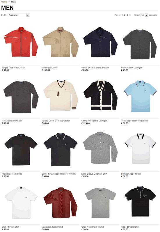 fred perry gallery page design