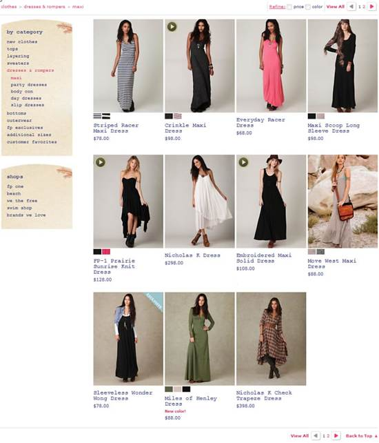 free people gallery page design