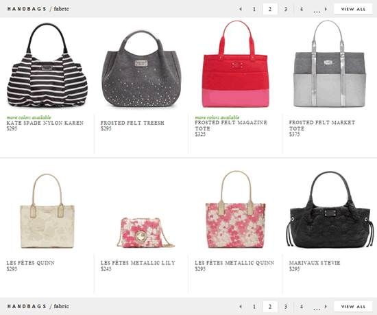 kate spade gallery page design