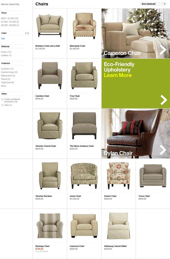 crate and barrel gallery page design