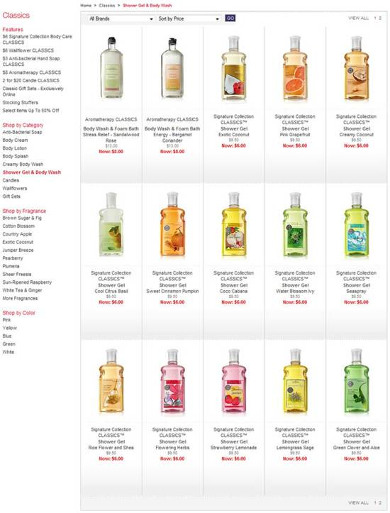 bath and bodyworks gallery page design