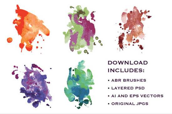 free watercolor smudges photoshop brushes