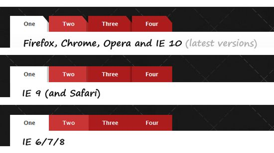 CSS3 tabs with beveled corners