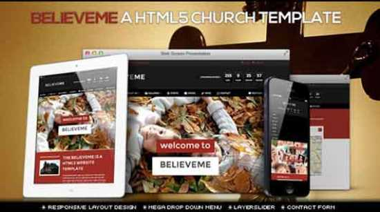 BelieveME Responsive HTML5 Church Site Template