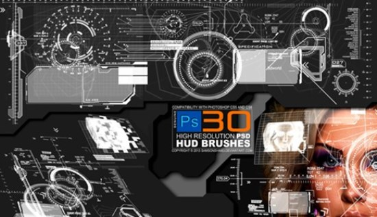 Heads Up Display Pack Photoshop Brushes