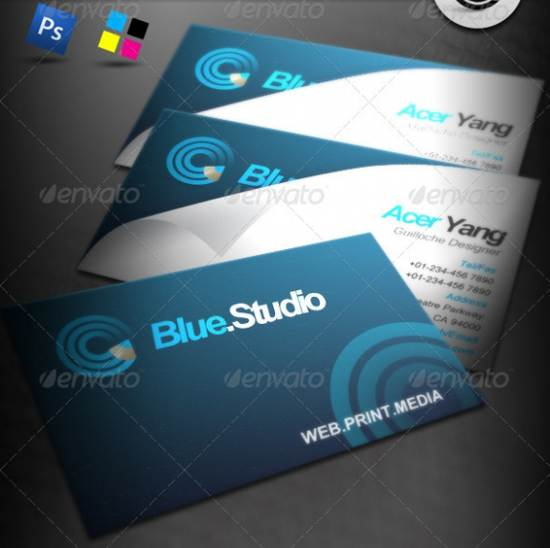 blue studio business card template