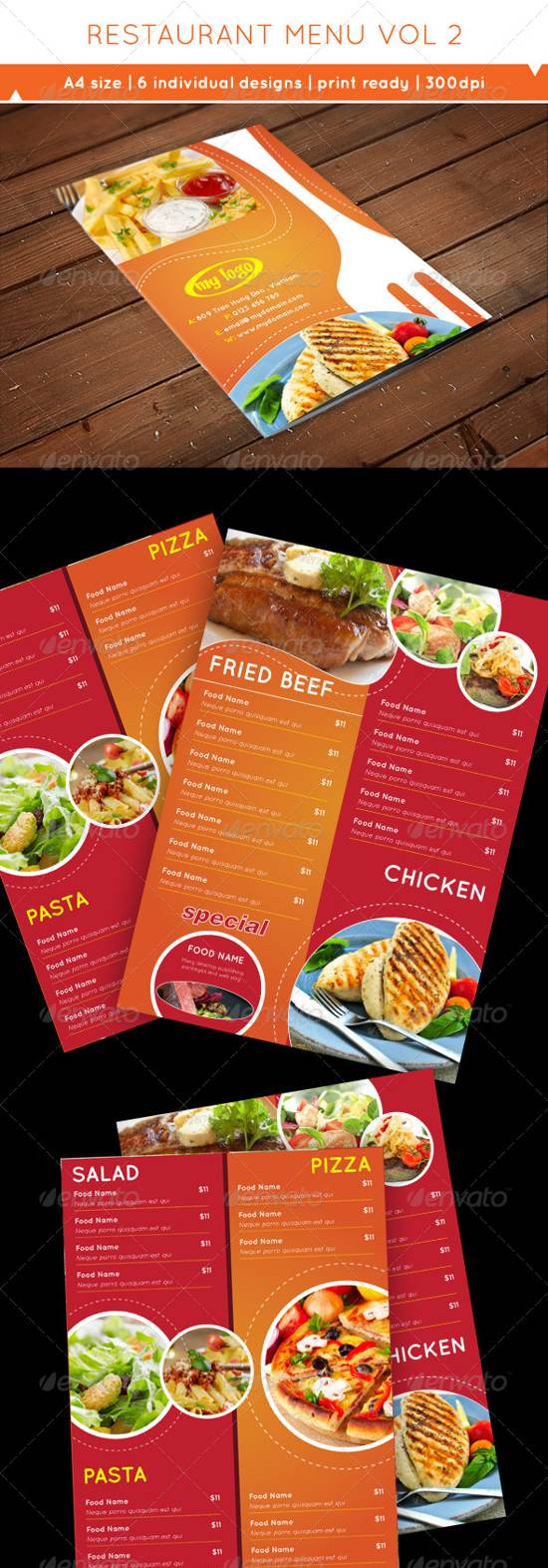 restaurant table menu templates